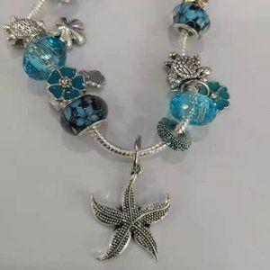 pandoral blue starfish charms bracelet set